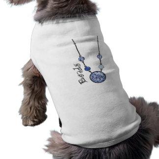 Jumbo Bead Necklace Blue-005 Pet Tshirt