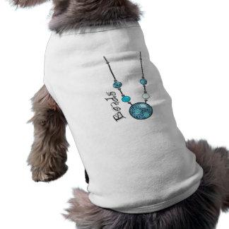 Jumbo Bead Necklace Blue-006 Dog Tee Shirt