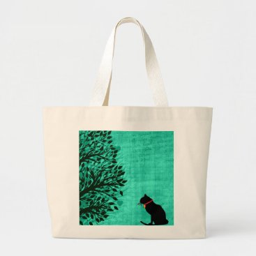 Beach Themed Jumbo Black Cat Graphic Tote