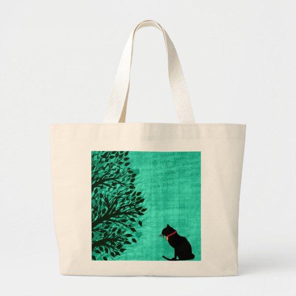 Jumbo Black Cat Graphic Tote