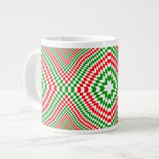 """Jumbo """"blanco y verde"""" rojo taza de 20 onzas taza extra grande"""