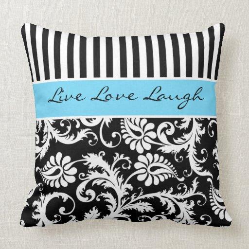 Jumbo Blue Black White Stripes Damask Pillow Zazzle