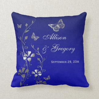 Jumbo Blue Gray Butterfly Floral Keepsake Pillow