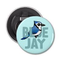 Jumbo Blue Jay Button Bottle Opener