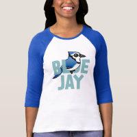Jumbo Blue Jay Ladies Raglan Fitted T-Shirt
