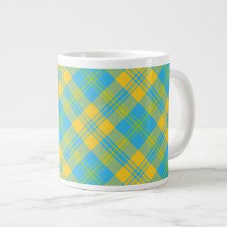 Jumbo Coffee Mug: Blue, Yellow, Green Plaid 20 Oz Large Ceramic Coffee Mug