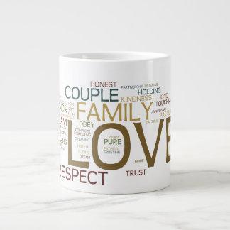 Jumbo Coffee Mug  Couple Word Cloud 20 Oz Large Ceramic Coffee Mug