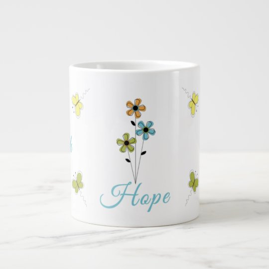 Jumbo Coffee Mug-Faith-Hope-Love-Butterfly-Flower Giant Coffee Mug
