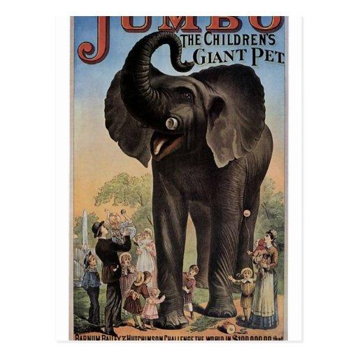 Jumbo el teatro retro del elefante gigante postal