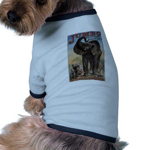 Jumbo el teatro retro del elefante gigante camiseta de perrito