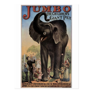 Jumbo el teatro retro del elefante gigante postales