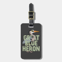 Jumbo Great Blue Heron Small Luggage Tag with leather strap