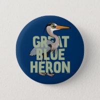 Jumbo Great Blue Heron Round Button