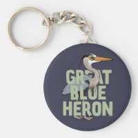 Jumbo Great Blue Heron Basic Button Keychain
