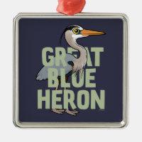Jumbo Great Blue Heron Premium Square Ornament