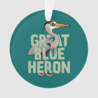 Jumbo Great Blue Heron Circle Acrylic Ornament