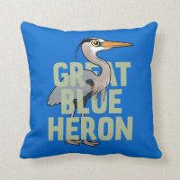 Jumbo Great Blue Heron Cotton Throw Pillow