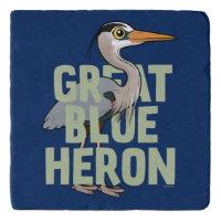 Jumbo Great Blue Heron Marble Trivet