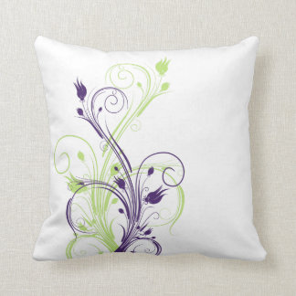 Jumbo Green, Purple, White Floral Vines Pillow