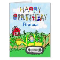 Jumbo Happy Birthday Personalized Tractors Card