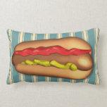 Jumbo Hotdog Custom Color Throw Pillows
