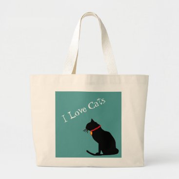 Beach Themed Jumbo I Love Cats Blue And White  Graphic Tote