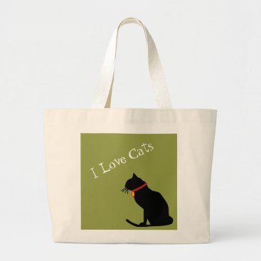 Beach Themed Jumbo I Love Cats Green And White  Graphic Tote