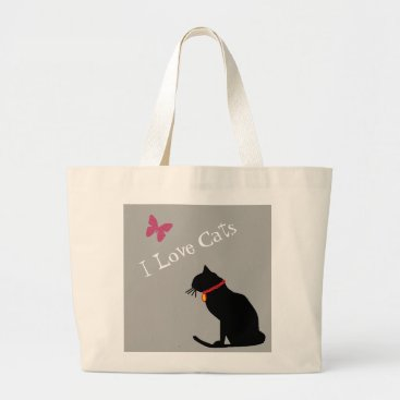 Beach Themed Jumbo I Love Cats Grey  And White  Graphic Tote