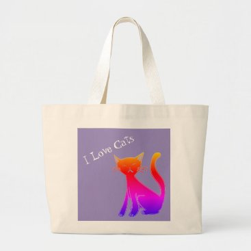 Beach Themed Jumbo I Love Cats Pink And White   Graphic Tote