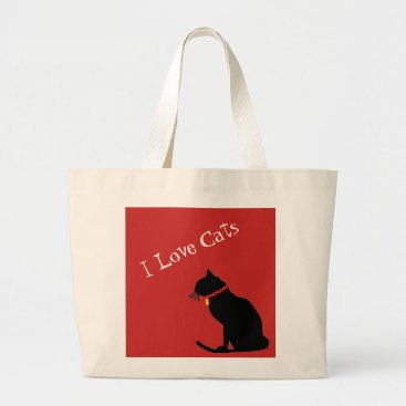 Beach Themed Jumbo I Love Cats Red And White  Graphic Tote