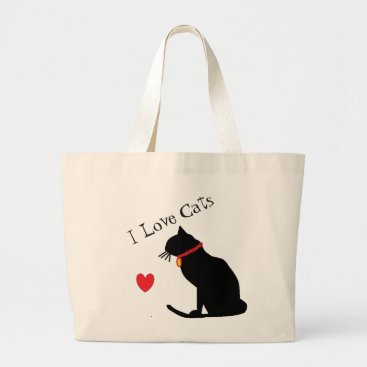 Beach Themed Jumbo I Love Cats Red Heart And White Graphic Tote