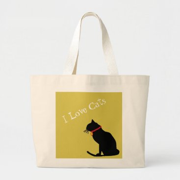 Beach Themed Jumbo I Love Cats Yellow And White  Graphic Tote