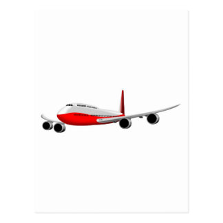 jumbo jet plane airplane aircraft flying flight post card