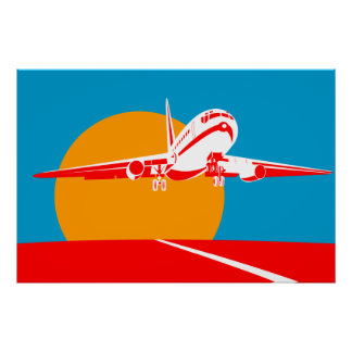 jumbo jet plane airplane taking off poster