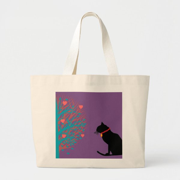 Jumbo Lilac Black Cat Graphic Tote