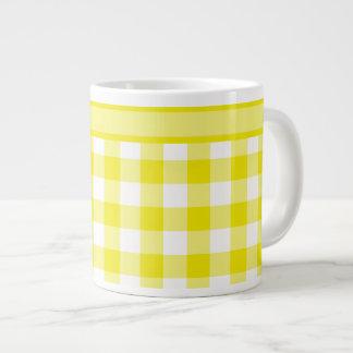 Jumbo Mug, Lemon Yellow Check Gingham Pattern Large Coffee Mug