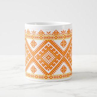 Jumbo Mug Orange Ukrainian Cross Stitch Print