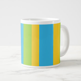 Jumbo Mug: Turquoise, Yellow, Green Stripes Giant Coffee Mug