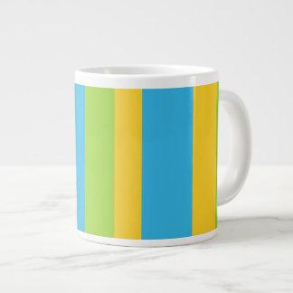 Jumbo Mug: Turquoise, Yellow, Green Stripes 20 Oz Large Ceramic Coffee Mug