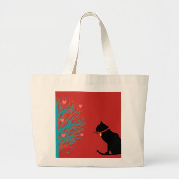 Beach Themed Jumbo Natural Black Cat Graphic Tote