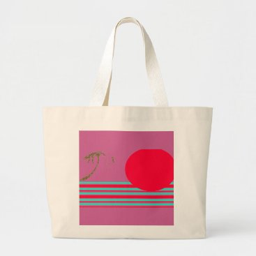 Beach Themed Jumbo Natural Cerise Red Island Sun Graphic Tote