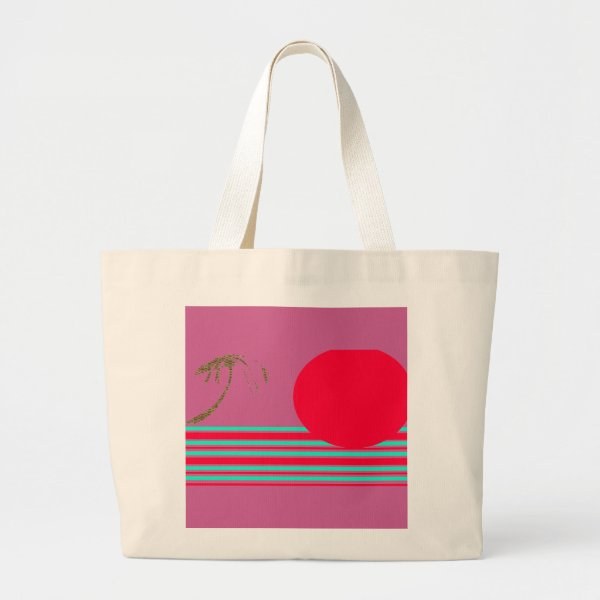 Jumbo Natural Cerise Red Island Sun Graphic Tote