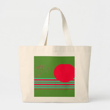 Beach Themed Jumbo Natural  Green Red Island Sun Graphic Tote