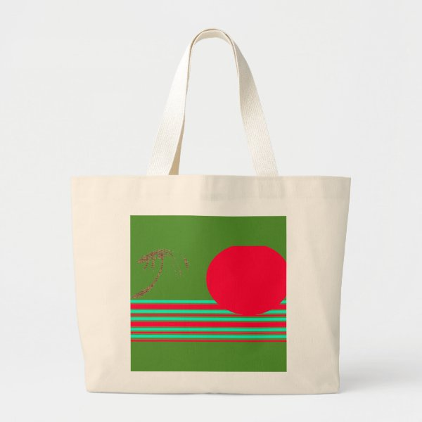 Jumbo Natural  Green Red Island Sun Graphic Tote