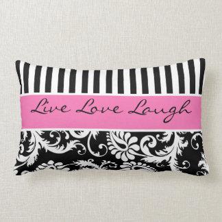 Jumbo Pink Black White Stripes Damask Pillow