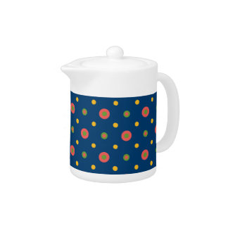 Jumbo Polka Dots on Navy Blue China Teapot