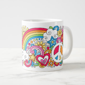 JUMBO Psychedelic Peace Love and Happiness Mug ♥