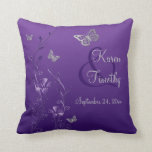 "Jumbo Purple Gray Butterfly Floral Keepsake Pillow<br><div class=""desc"">This reversible 20&quot;x20&quot; purple and gray floral throw pillow has flowers, butterflies, and vines on it, along with the names of the Bride and Groom and wedding date on the purple side, and &quot;Happily Ever After&quot; on the gray side. It matches the wedding invitation shown below. All the text is...</div>"