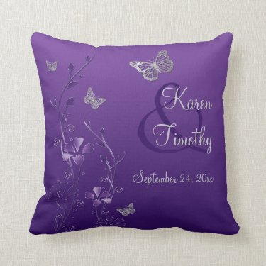 Jumbo Purple Gray Butterfly Floral Keepsake Pillow