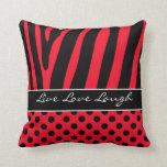 Jumbo Red Black Zebra Stripe Polka Dots Pillow